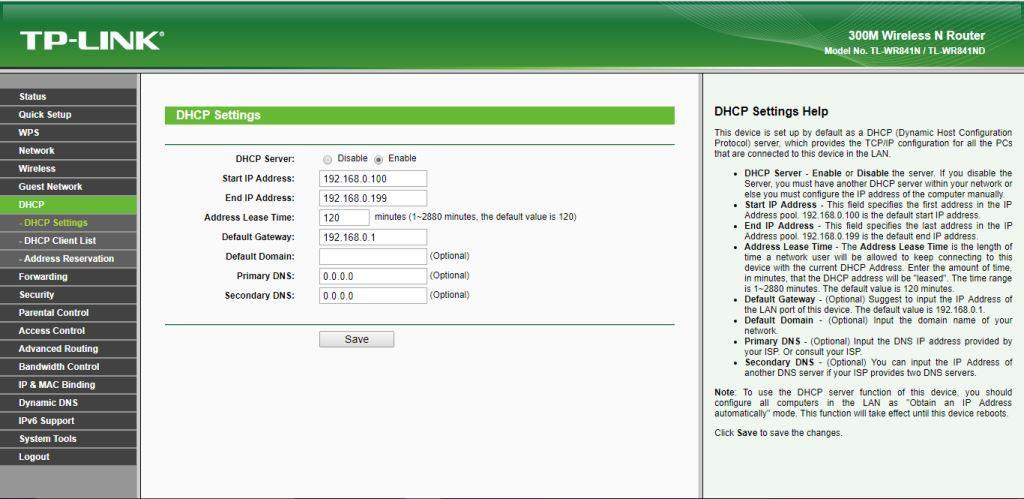 TP-Link TL-WR841N DHCP